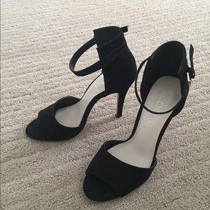Aldo Adralian Black Ankle Strap Heels